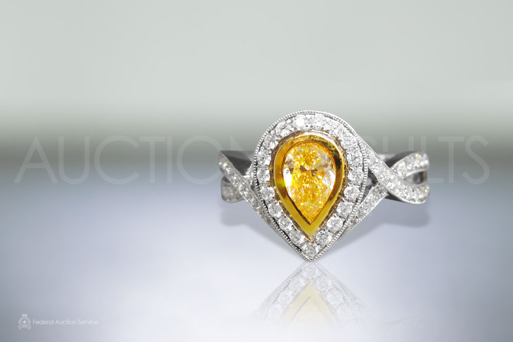 EGL Certified 1.02ct Pear Shape Fancy Yellow Diamond Ring sold for $7,200