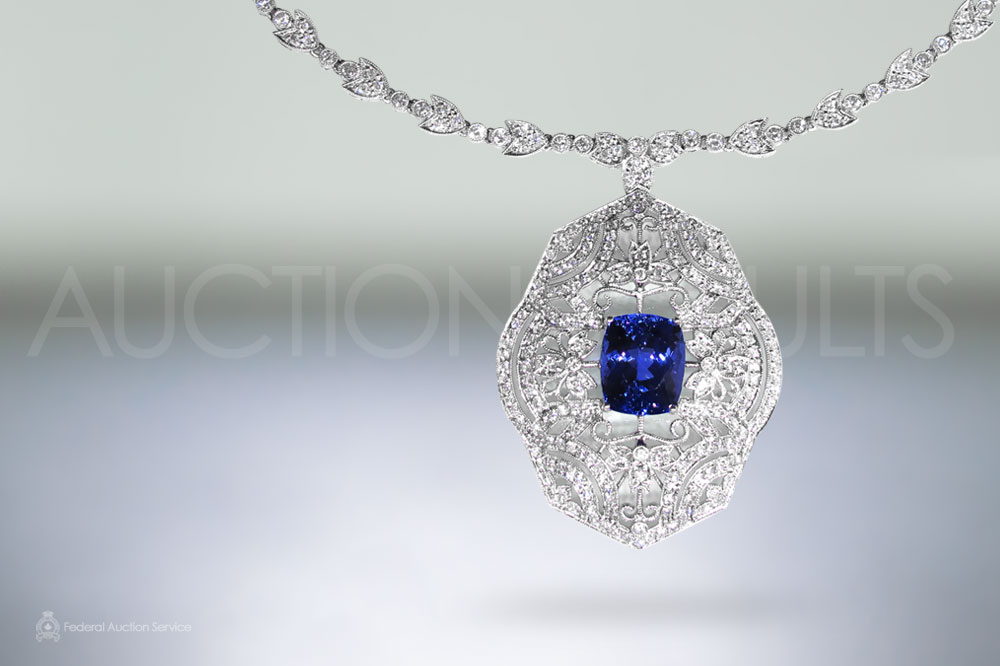 Elegant 18k White Gold Tanzanite and Diamond Pendant Necklace sold for $10,000