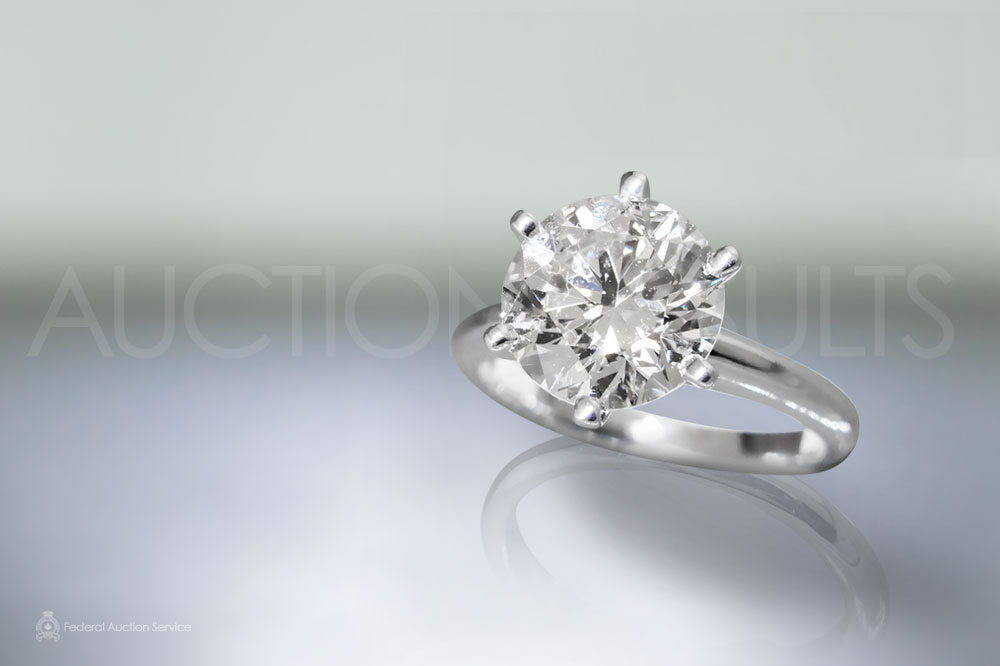 EGL Certified 3.11ct Round Brilliant Cut Diamond Ring Sold For $33,000