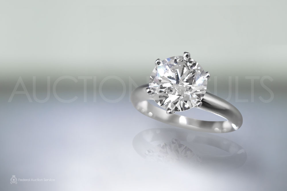 EGL Certified 3ct 'Hearts and Arrows' Cut Diamond Ring sold for $32,100