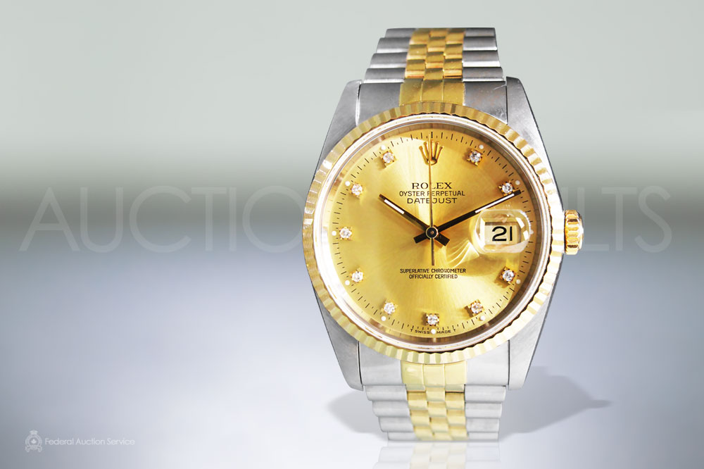 Men's Stainless Steel/18k Yellow Gold Rolex Datejust Automatic Wristwatch sold for $7,600
