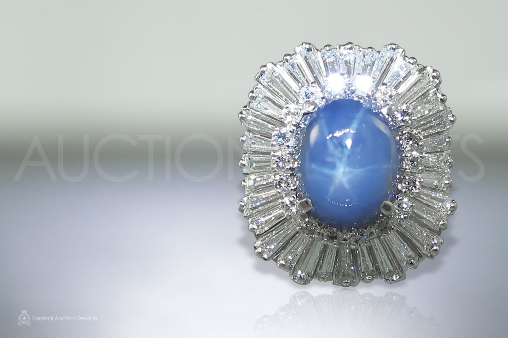 CGL Certified 13.46ct Bluish Gray Star Blue Sapphire and Diamond Ring sold for $7,100