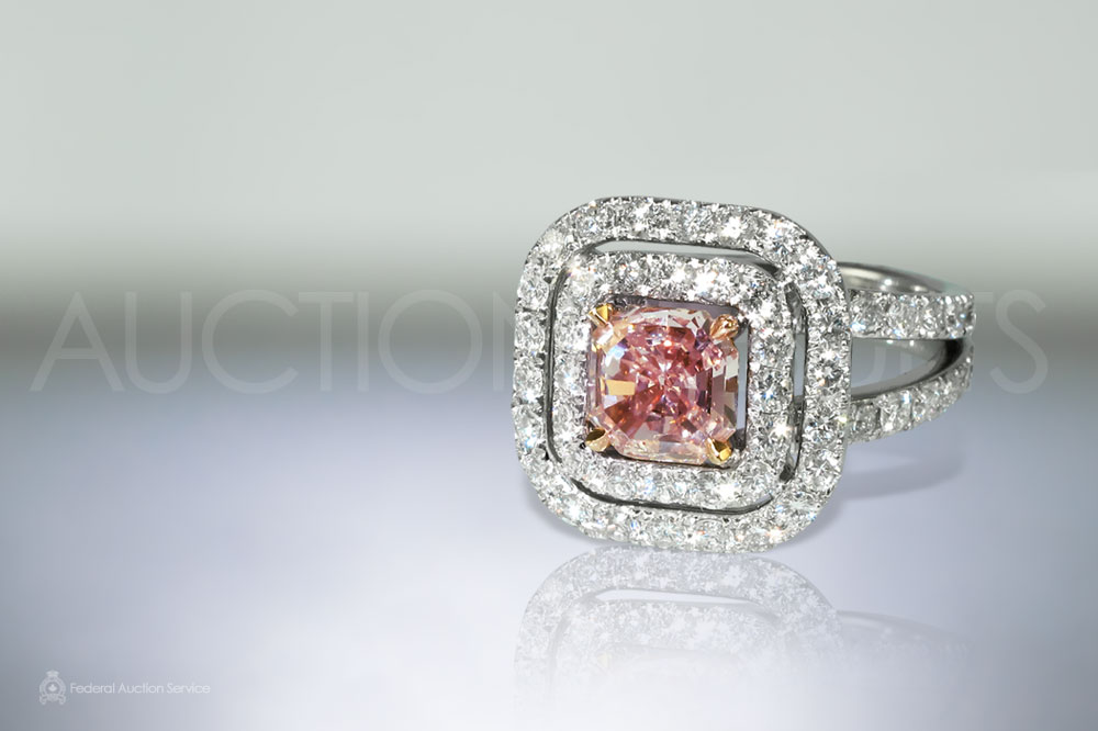 HWL Certified 1.00ct Square Cut Corned Faceted Fancy Orangey Pink Diamond Ring sold for $21,000