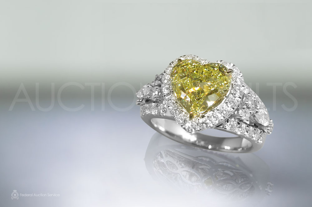GIA Certified 2.22ct Heart Shape Fancy Light Yellow Diamond Ring sold for $26,000
