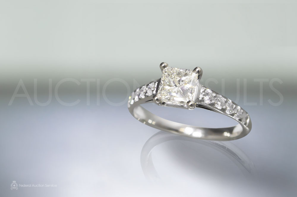 GIA Certified 0.71ct Square Modified Brilliant Cut Diamond Ring sold for $3,500