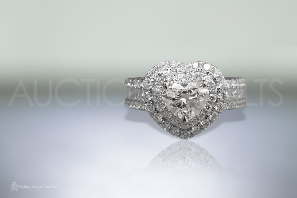 GIA Certified 1.02ct Heart Brilliant Cut Diamond Ring sold for $8,000