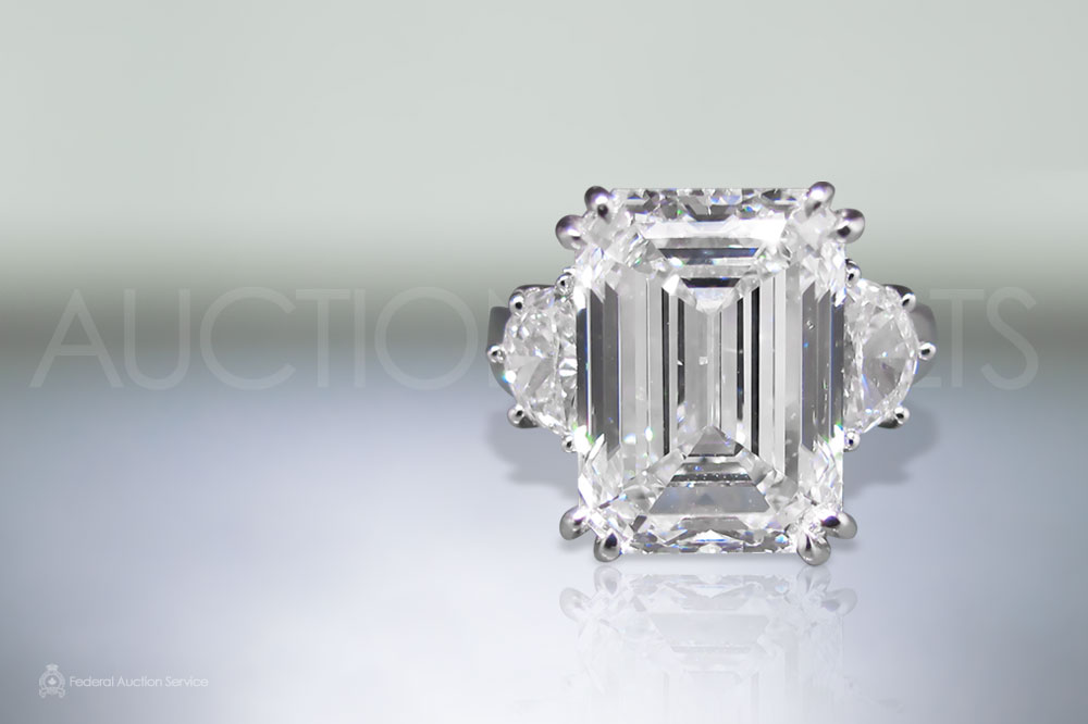 GIA Certified 8.51ct Emerald Cut Diamond Ring sold for $205,000