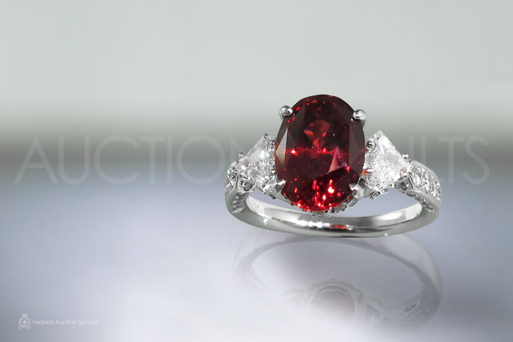 Lady's 18k White Gold 4.90ct Ruby and Diamond Ring sold for $36,000