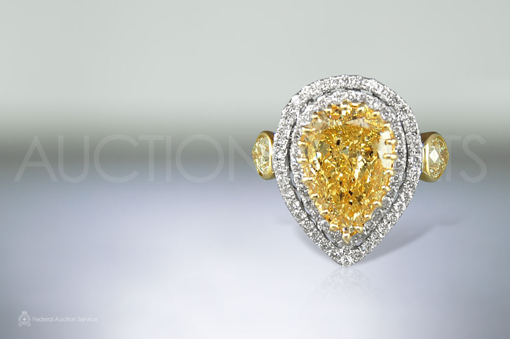 4ct Fancy Yellow Diamond Ring sold for $62,000