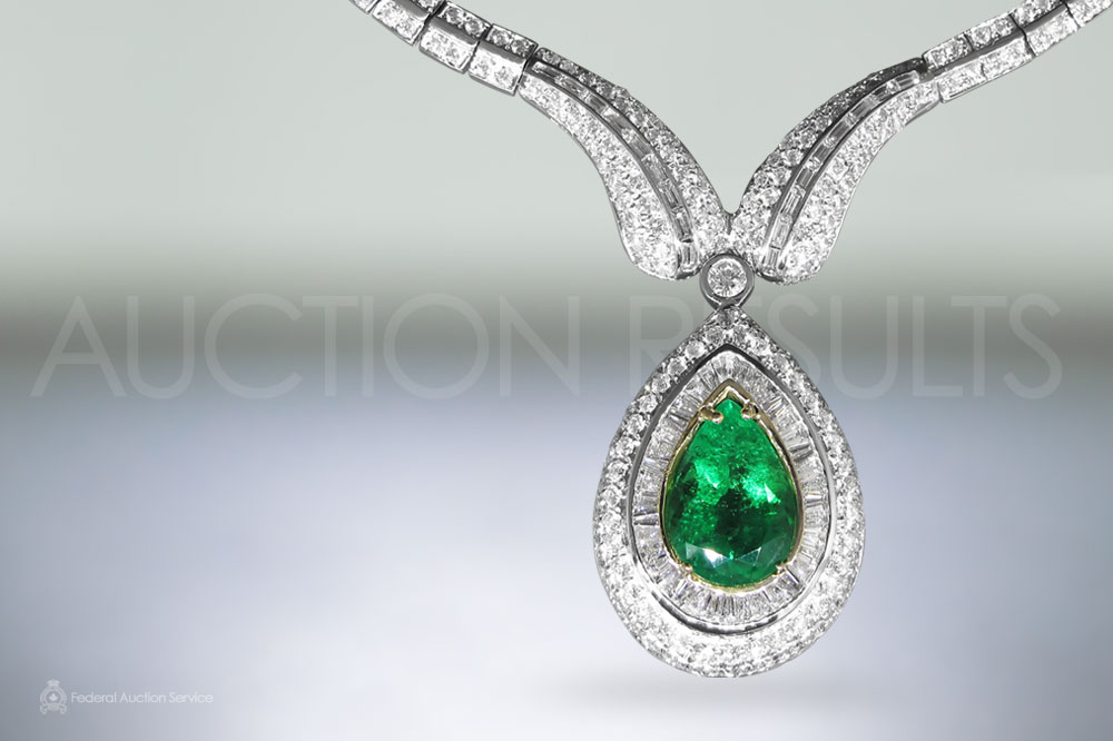 GIA Certified 10.75ct Pear Shape Colombian Emerald and Diamond Necklace sold for $45,000