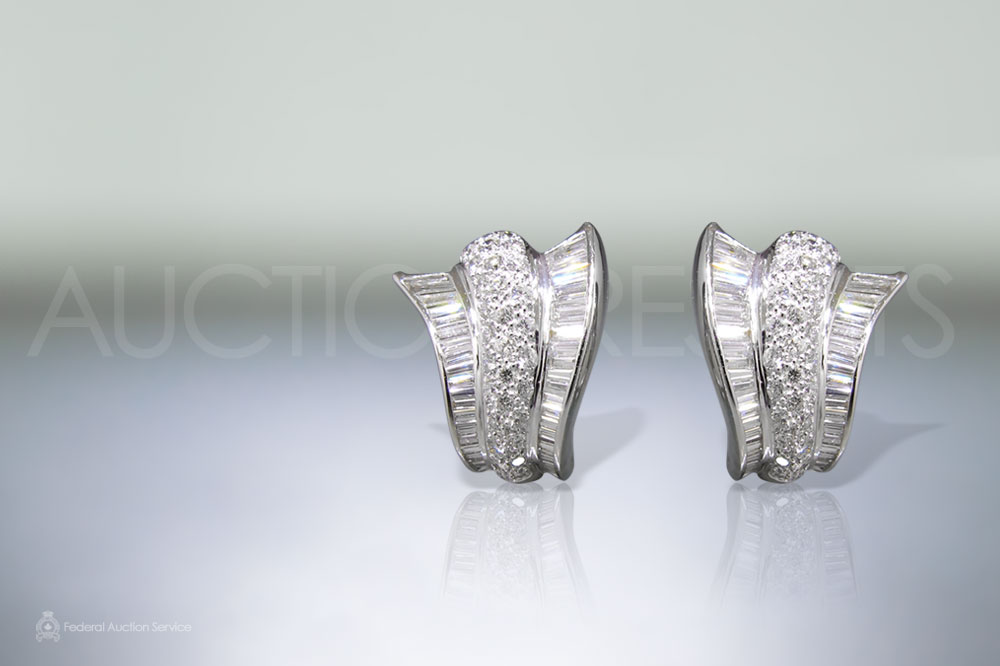 Lady's 18k White Gold 4.5ct (TDW) Diamond Earrings sold for $6,000