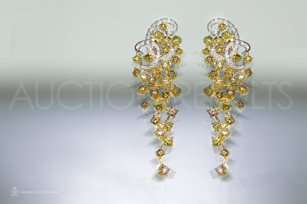 Lady's 18k White/Yellow Gold Diamond Earrings sold for $4,500