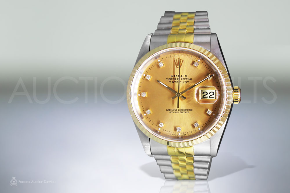 Men's Stainless Steel/18k Yellow Gold Rolex Datejust Automatic Wristwatch sold for $7,200