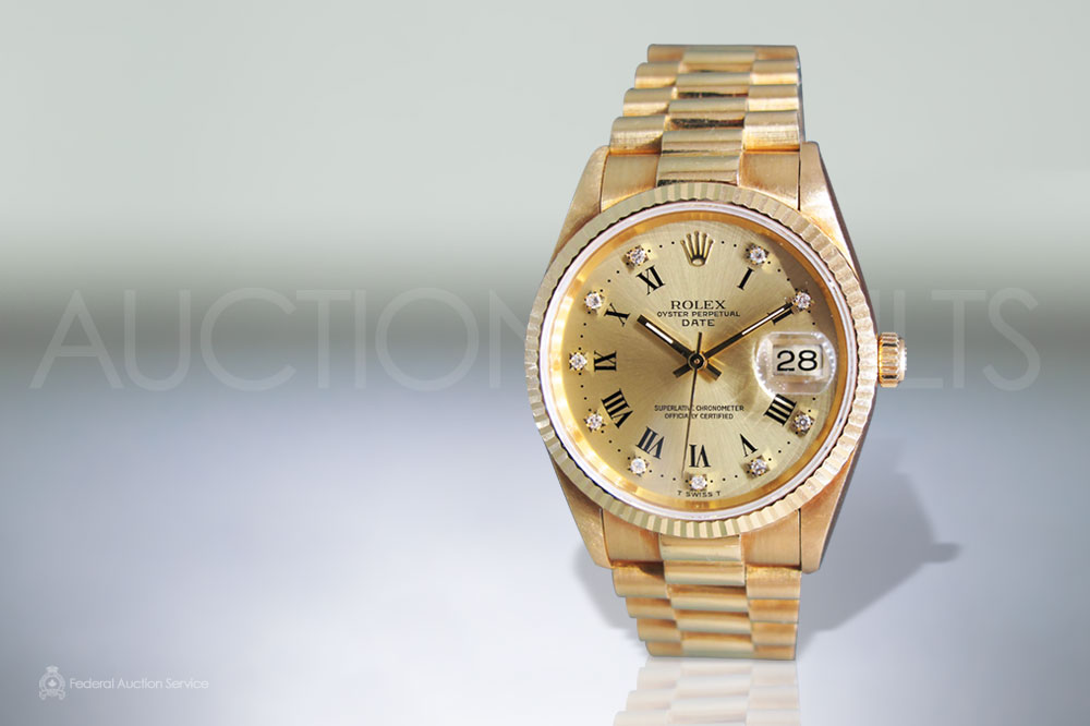 Men's 18k Yellow Gold Rolex Date Automatic Wristwatch with Diamonds sold for $19,000