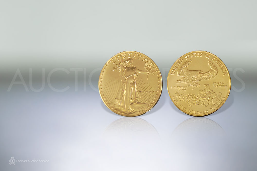 United States Fifty Dollar Gold Coin sold for $1,100