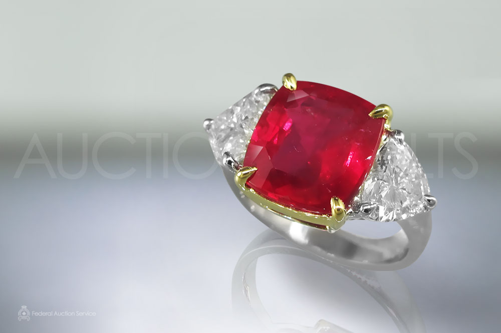 GIA Certified 6.67ct Cushion Cut Unheated Ruby and Diamond Ring sold for $53,000