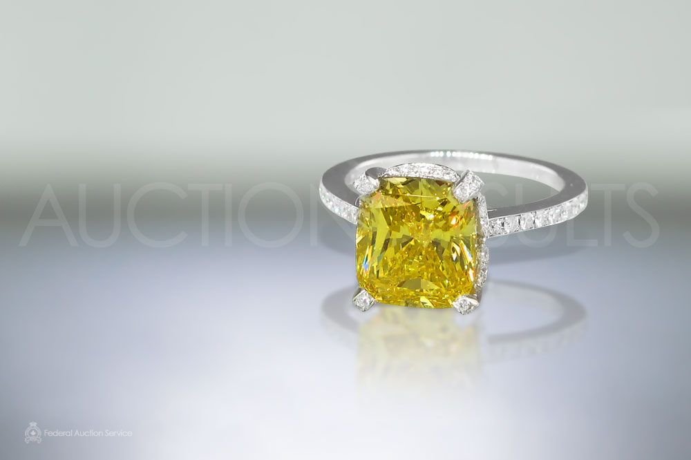 4.08ct Fancy Yellow Diamond Ring sold for $86,000