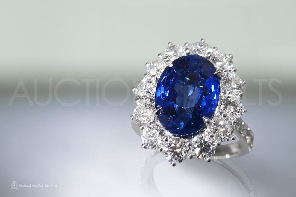 EGL Certified 6.41ct Blue Sapphire and Diamond Ring sold for $17,000