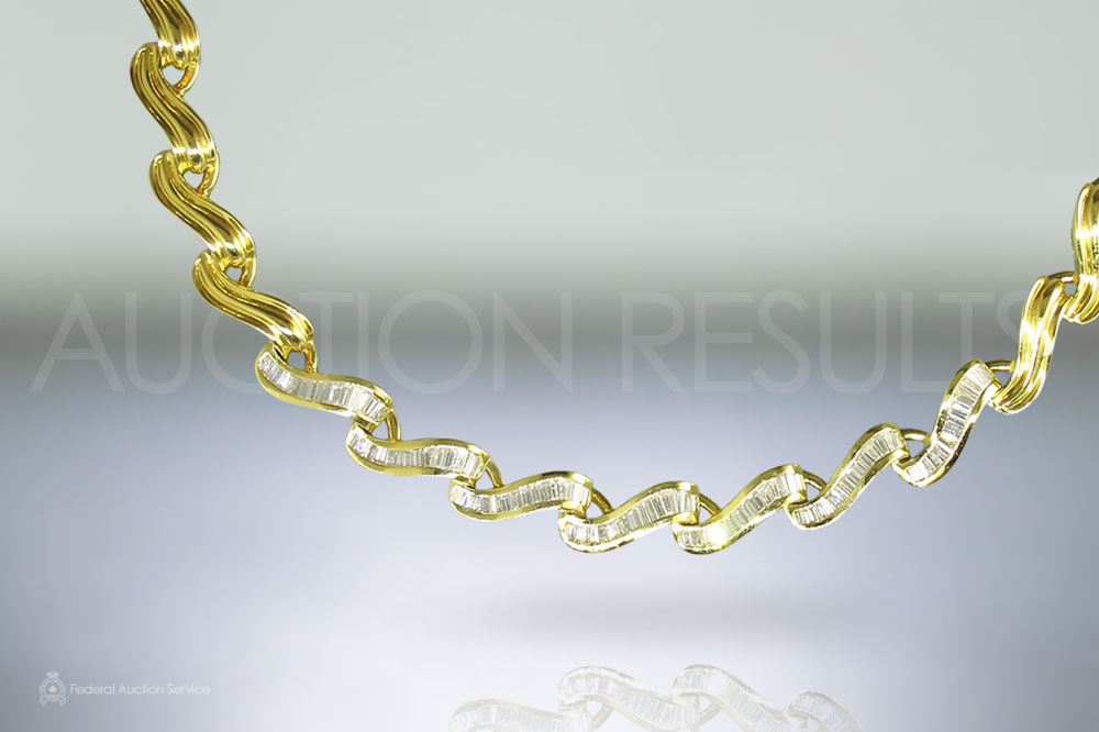18k Yellow Gold and Diamond Necklace sold for $8,500