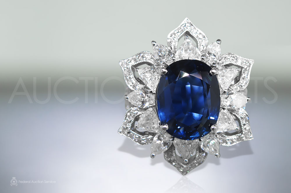 Lady's 18k White Gold 5.32ct Blue Sapphire and Diamond Ring sold for $16,000