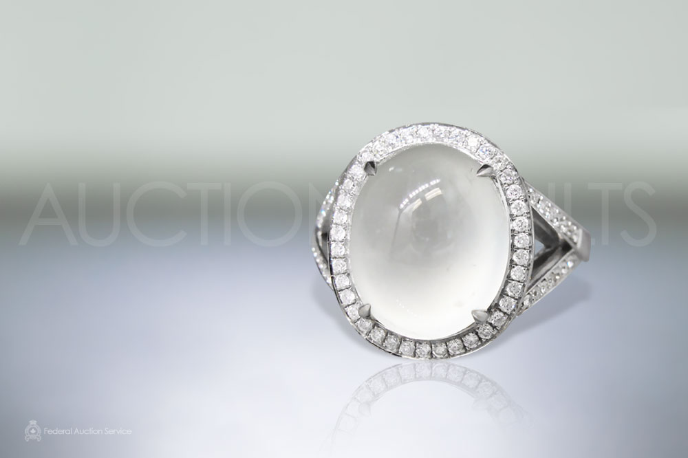 Lady's 18k White Gold Icy Jadeite and Diamond Ring sold for $8,500
