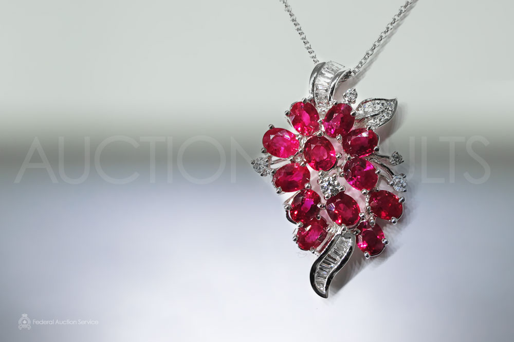 18k White Gold Ruby and Diamond Pendant Sold For $3,600